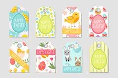 被设置的逗人喜爱的复活节标记 标记汇集用兔子、鸡蛋和花 您的设计的春天模板 Vecto 库存例证