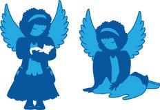 被设置的逗人喜爱的天使剪影 免版税库存图片
