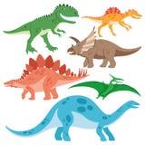 被设置的逗人喜爱的恐龙 向量例证