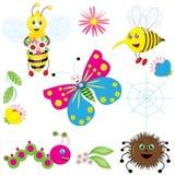 被设置的逗人喜爱的昆虫 库存图片