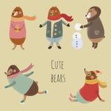 被设置的逗人喜爱的熊 免版税库存照片