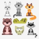 被设置的逗人喜爱的野生动物 免版税库存照片
