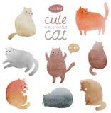 被设置的逗人喜爱的水彩猫 免版税库存照片