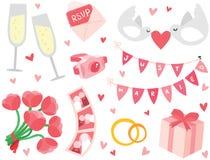 被设置的逗人喜爱&时髦的婚礼项目 免版税图库摄影