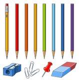 被设置的配件箱铅笔 免版税库存照片
