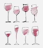 被设置的酒杯-汇集速写了水彩葡萄酒杯和剪影 库存图片