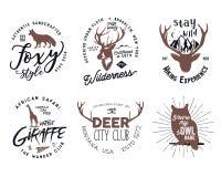 被设置的野生动物徽章 包括的长颈鹿、猫头鹰、狐狸和鹿形状 在白色背景隔绝的股票 好为发球区域 免版税库存照片