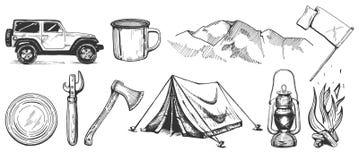 被设置的野营的手拉的贴纸 库存图片
