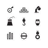被设置的金属工业图标 免版税库存照片