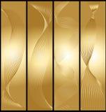 被设置的金黄横幅。 免版税库存图片