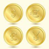被设置的金黄硬币 库存图片