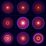 被设置的霓虹焕发对称元素 神圣的几何 平衡和和谐圈子  抽象荧光的传染媒介背景 库存照片
