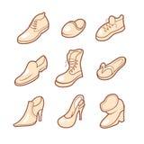 被设置的鞋子图标 库存图片