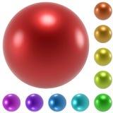 被设置的颜色光滑的球形 免版税库存照片