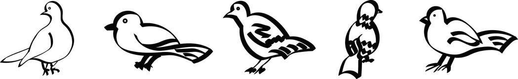 被设置的风格化鸟 库存例证