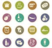 被设置的食物和厨房象 免版税库存图片