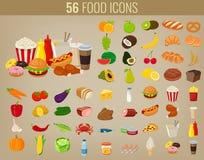 被设置的食物图标 结果实图标蔬菜 快餐象 现代平的设计 向量 向量例证