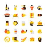 被设置的食物图标 免版税库存照片