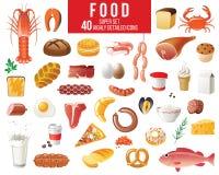 被设置的食物图标 向量例证
