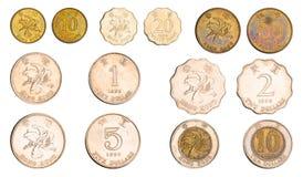 被设置的香港硬币 库存图片