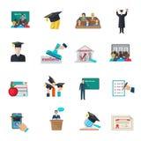 被设置的高等教育图标 免版税库存照片