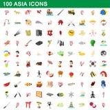 被设置的100个亚洲象,动画片样式 皇族释放例证