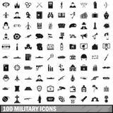 被设置的100个军事象,简单的样式 图库摄影