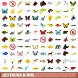 被设置的100个动物区系象,平的样式 免版税库存图片