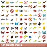 被设置的100个动物象,平的样式 免版税库存照片