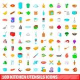 被设置的100个厨房器物象,动画片样式 免版税库存图片