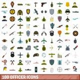 被设置的100个官员象,平的样式 库存图片