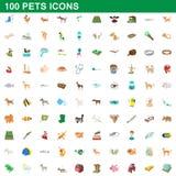 被设置的100个宠物象,动画片样式 免版税库存图片