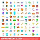 被设置的100个家具象,动画片样式 图库摄影