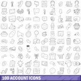 被设置的100个帐户象,概述样式 免版税库存图片