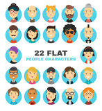 被设置的22个平的人字符具体化象 许多现代城市居民传染媒介动画片例证 免版税库存图片