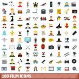 被设置的100个影片象,平的样式 免版税库存照片
