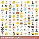 被设置的100个情感象,平的样式 库存照片