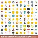 被设置的100个接口图表象,平的样式 库存照片