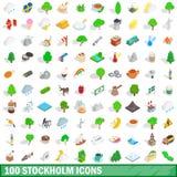 被设置的100个斯德哥尔摩象,等量3d样式 向量例证
