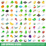 被设置的100个春天象,等量3d样式 免版税图库摄影