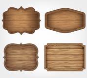被设置的4个现实木标志 装饰设计要素简单例证的模式 例证百合红色样式葡萄酒 向量 皇族释放例证