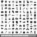 被设置的100个自然灾害象,简单的样式 免版税库存照片