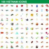 被设置的100个越南象,动画片样式 库存图片