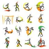 被设置的16个足球乱画象 库存例证