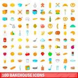 被设置的100个面包店象,动画片样式 库存照片