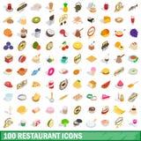 被设置的100个餐馆象,等量3d样式 免版税库存图片