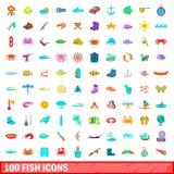 被设置的100个鱼象,动画片样式 库存例证