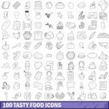 被设置的100个鲜美食物象,概述样式 库存例证