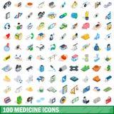 被设置的100个医学象,等量3d样式 免版税库存图片