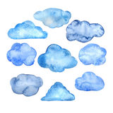 被设置的水彩云彩 免版税库存图片